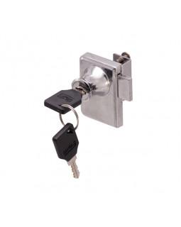 Замок мебельный 805 плас. ключ хром для двух стекол  мастер
