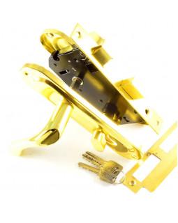 Замок врезной 504 с ручками золото