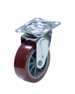 Колесо мебельное КНР 38 мм Красное поворотное
