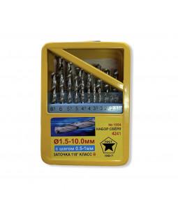 Набор свёрл по металлу №1554 1,5-10 мм шаг 0,5-1 мм 19шт в жел.кейсе жёлтый